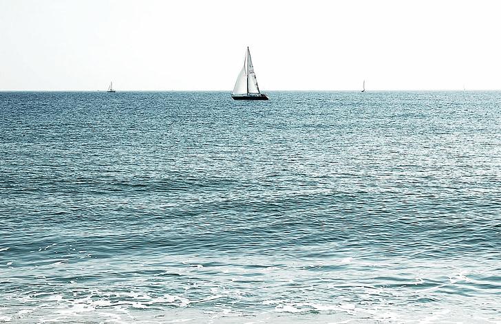 white and black sailboat under white sky at daytime