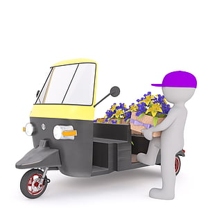 man riding auto rickshaw with petaled flowers illustration