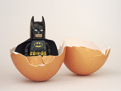 LEGO batman with brown egg