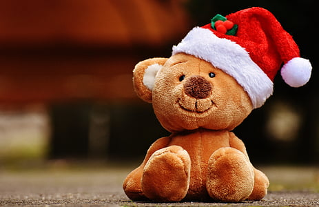 selective focus photo of brown bear plush toy wearing red and white Santa hat over concrete ground