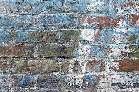 blue, white, and brown concrete wall