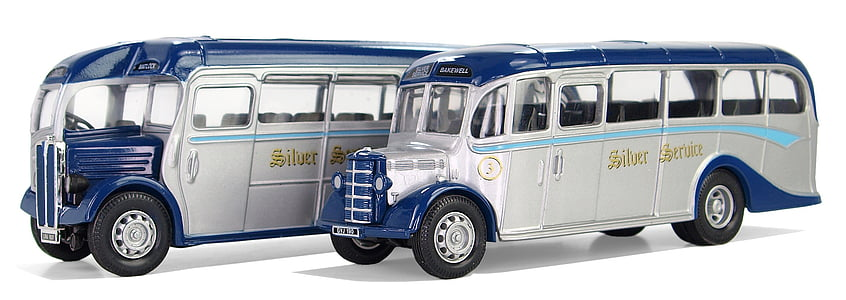 two blue-and-white coach bus die-cast models