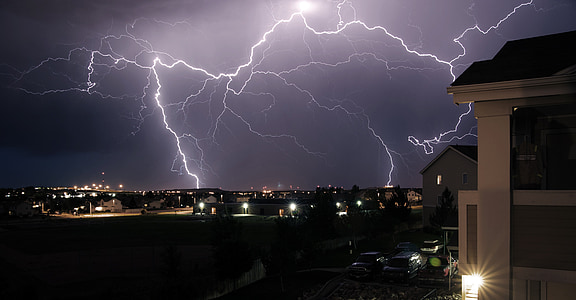 Thunderbolt during night time