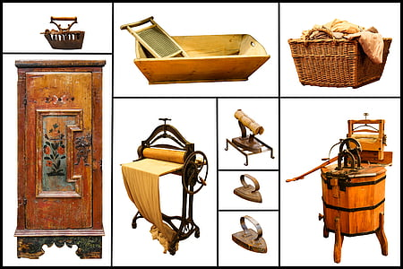 base cabinet, milk churn, and picnic basket collage