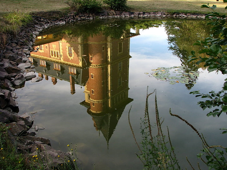 reflection of castle on water
