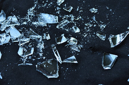 photo of clear glass shards