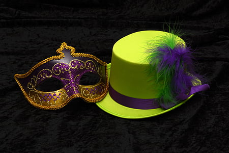 purple and gold masquerade and green dress hat