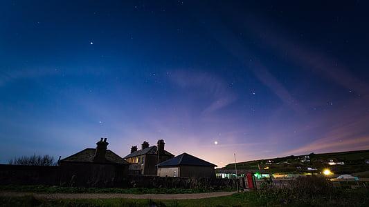 houses under night sky