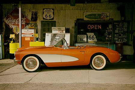 orange and white convertible coupe