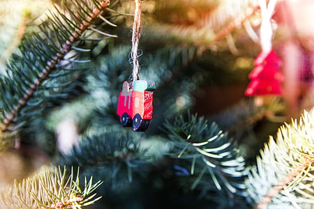 close-up photo of red ornament hanging on tree