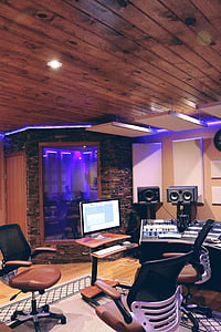recording studio with purple cove light