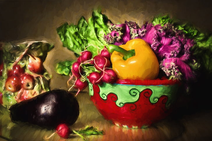 assorted still life fruit painting