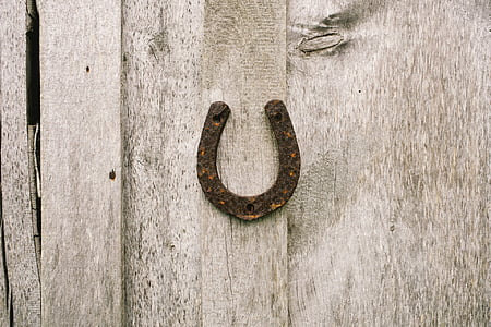 rusty horseshoe on wall