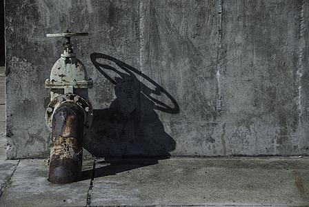 vintage gray steel fire hydrant
