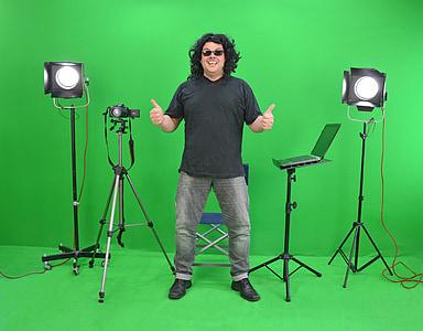 man in black shirt near camera