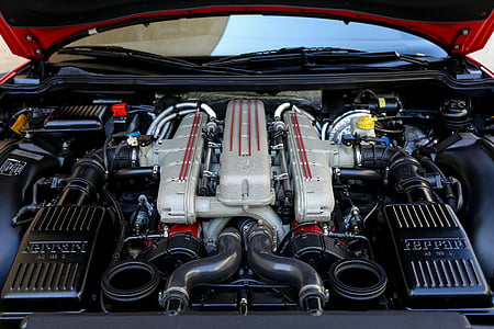 black and gray Ferrari vehicle engine