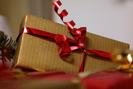 closeup photo of brown gift box