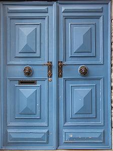 blue wooden double door