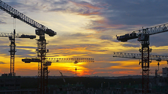 construction crane during sunset