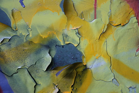 yellow, blue, and white abstract painting