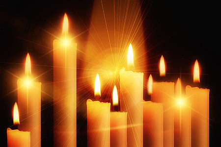 photo of row of lighted candles