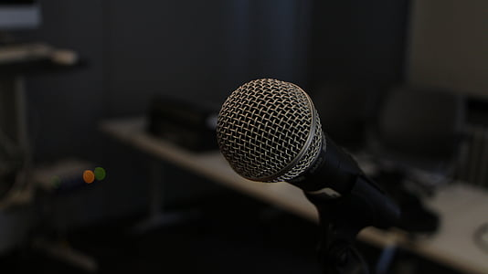 close-up photo of microphone with stand
