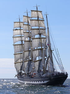 photo fof black and white sailing ship