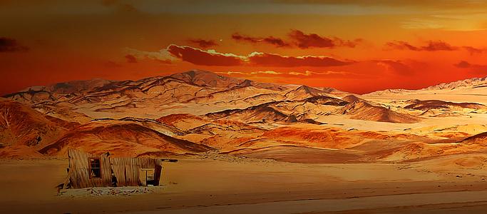desert during orange sunset painting