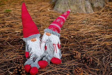 gray-white-and-red gnome dolls