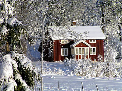 red and white house surrounded by snow