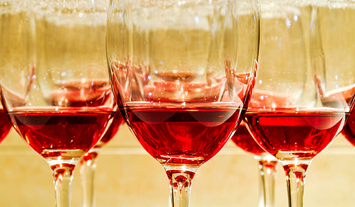 clear wine glasses with red wine