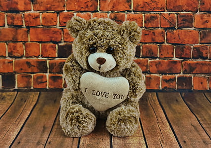 brown bear plush toy with i love you print