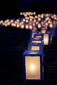 blue candle lanterns