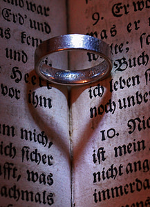silver-colored ring on book