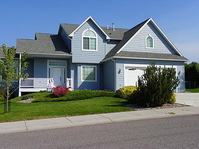 gray and blue 2-storey house