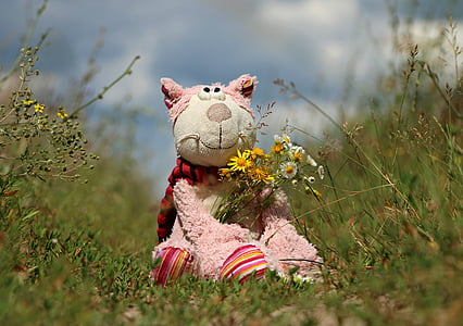 white and pink animal plush toy on holding flowers on green grass