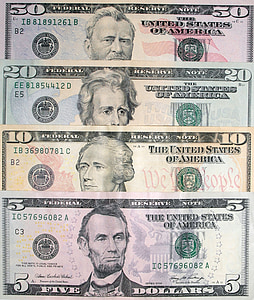 5,10,20, and 50 U.S dollar banknotes