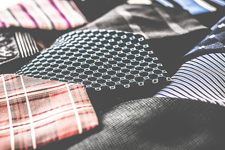 red, black, and white textile