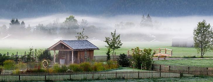 foggy farm landscape illustration