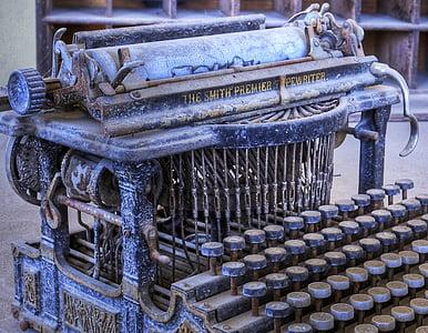 vintage blue and white typewriter