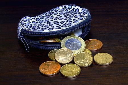 euro coin collection near purse
