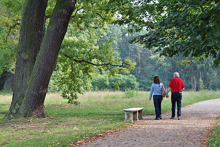 couple walking in park during daytime