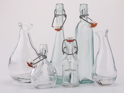 clear glass bottle and carafe lot