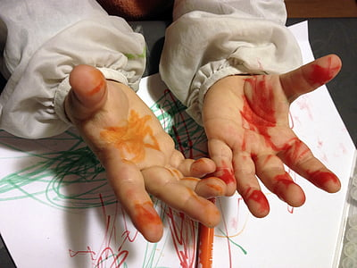 photo of human hand with color