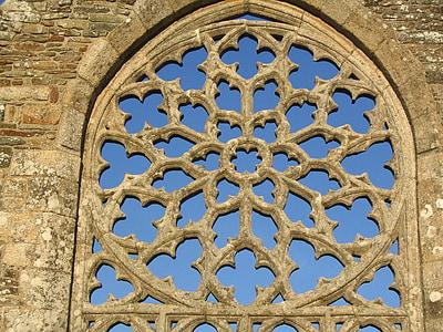 rose window, languidou chapel, france, plovan, brittany, 12th century