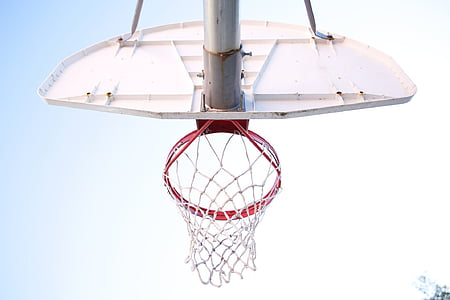 white and red basketball hoops