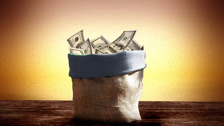 sack of U.S. dollar banknote