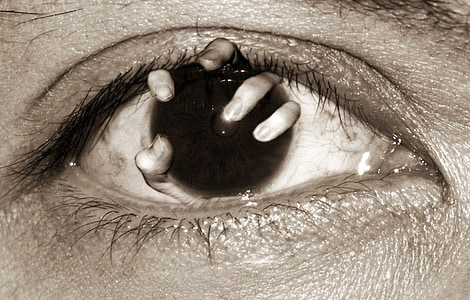 horror, nightmare, blindness, grasping, eye, macro