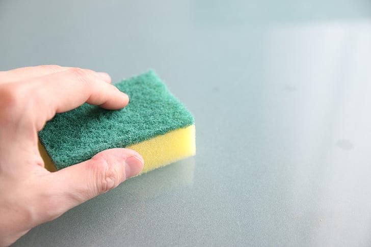 Royalty-Free photo: Four assorted-color dishwashing sponges | PickPik