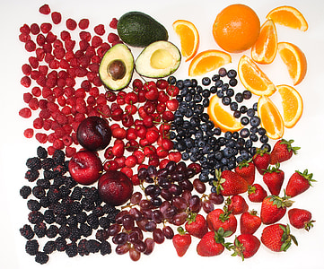 assorted fruits with white background
